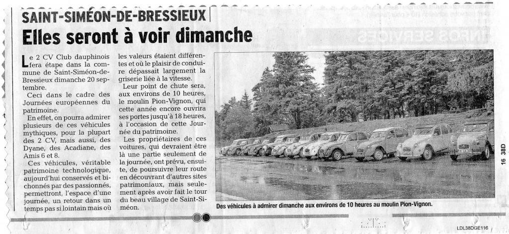 Dauphiné Libéré - Le 2 CV Club Dauphinois à Saint-Siméon-de-Bressieux le 20 septembre 2015