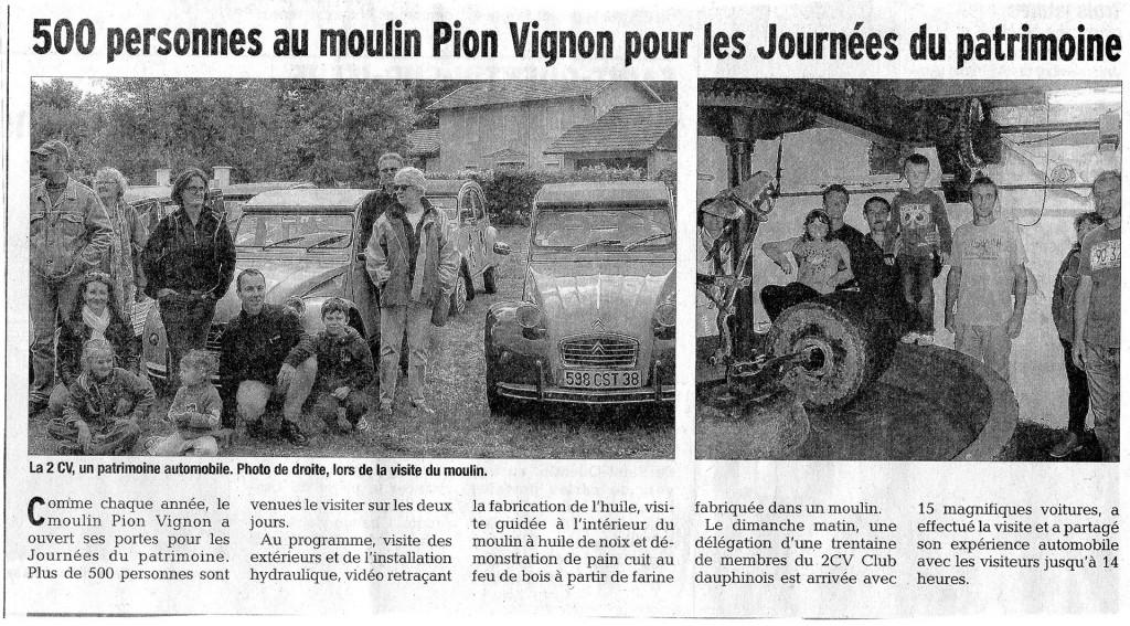 Dauphiné Libéré - Journées du Patrimoine 2015 au Moulin Pion-Vignon