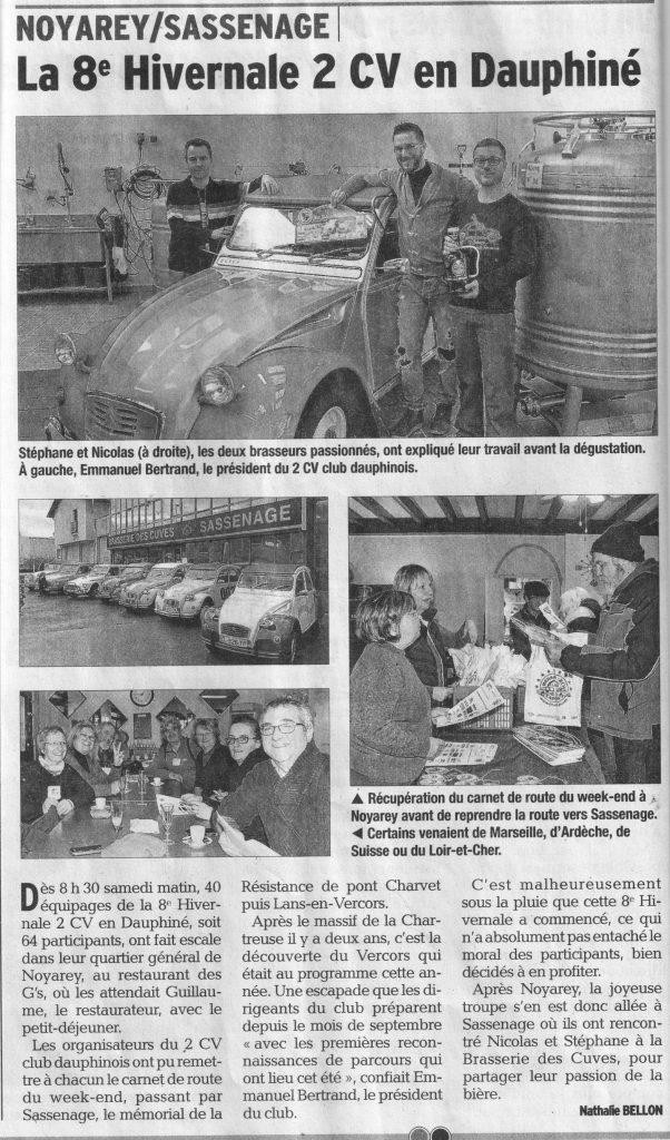 article du Dauphiné Libéré, Hivernale 2017 à Noyarey et Sassenage