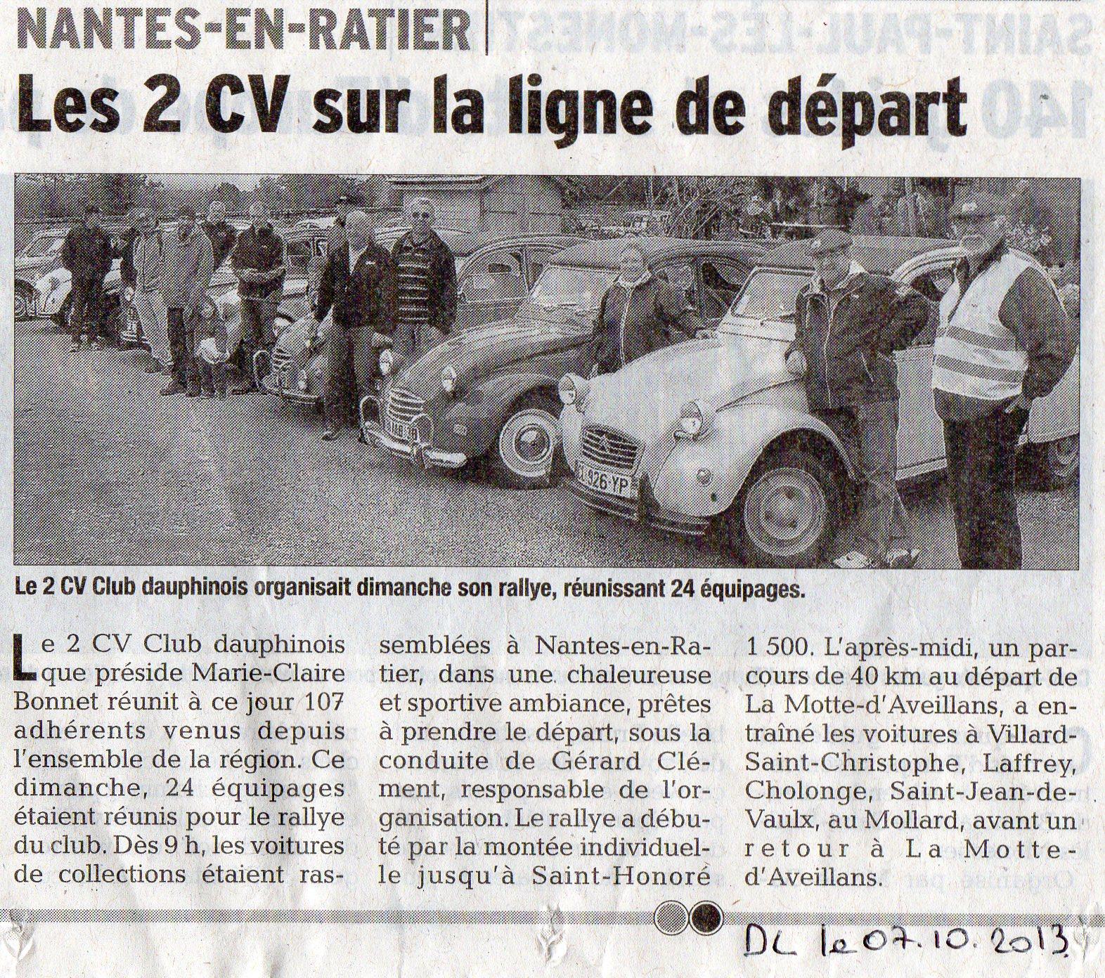 Article du Dauphiné Libéré du 7 octobre 2013