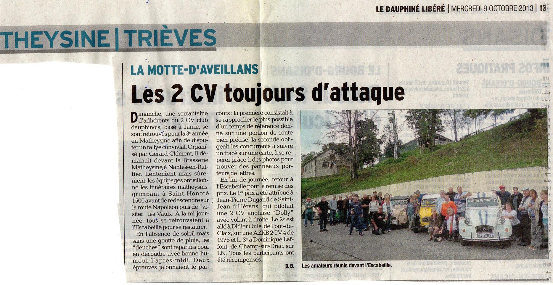 Le Dauphiné Libéré du 7 octobre 2013