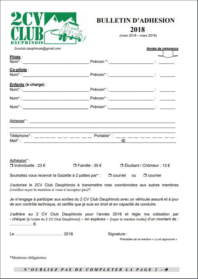 bulletin d'adhésion au 2 CV Club Dauphinois