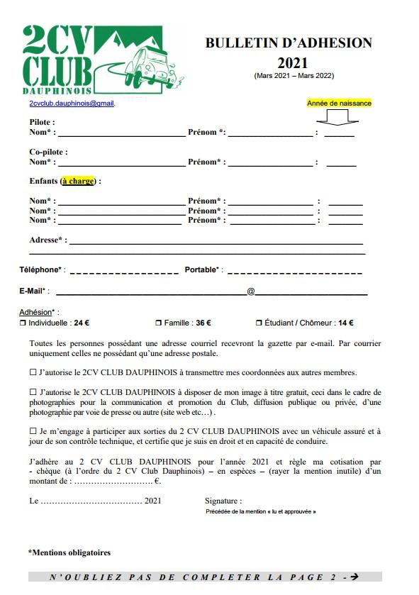 bulletin d'adhésion 2021 au 2 CV Club Dauphinois