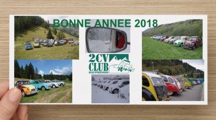 carte de voeux du 2 CV Club Dauphinois pour 2018