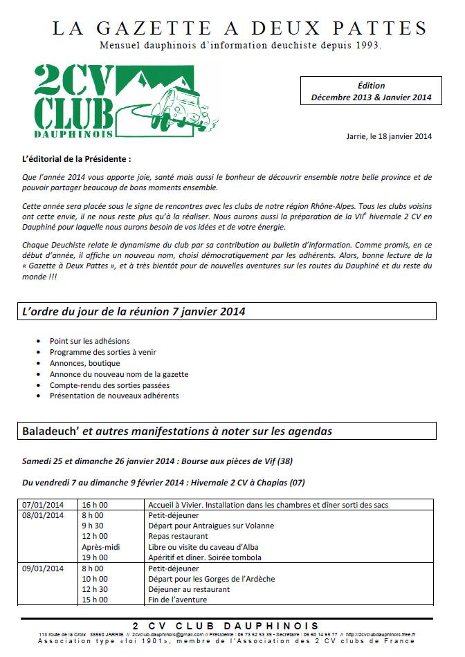 Réservé aux adhérents: La Gazette à deux pattes, édition de décembre 2013-janvier 2014