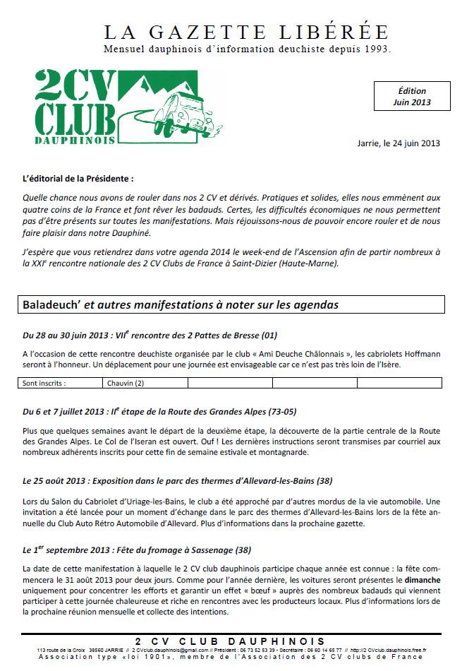 Réservé aux adhérents: La Gazette Libérée, édition de juin 2013