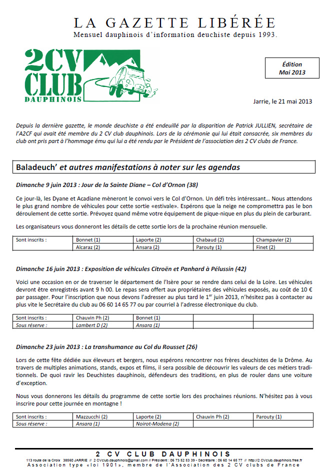 Réservé aux adhérents: La Gazette Libérée, édition de mai 2013