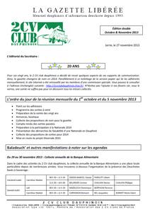 Réservé aux adhérents: La Gazette Libérée, édition d'octobre-novembre 2013