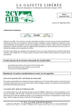 Réservé aux adhérents: La Gazette Libérée, édition de septembre 2013