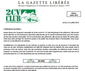 Réservé aux adhérents: La Gazette Libérée, édition de juillet 2013