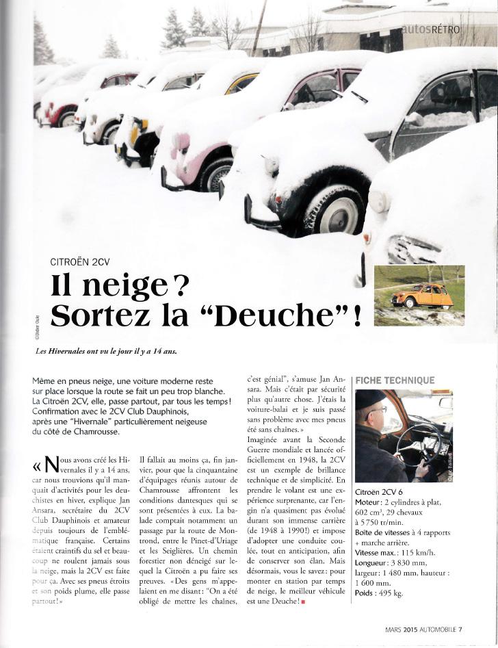 Les Hivernales du 2 CV Club Dauphinois, supplément Automobile du Dauphiné Libéré, mars 2015